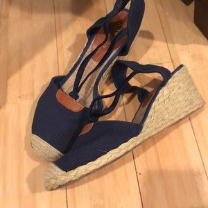 4676889f728 Ralph Lauren Cala espadrille wedges navy canvas 9